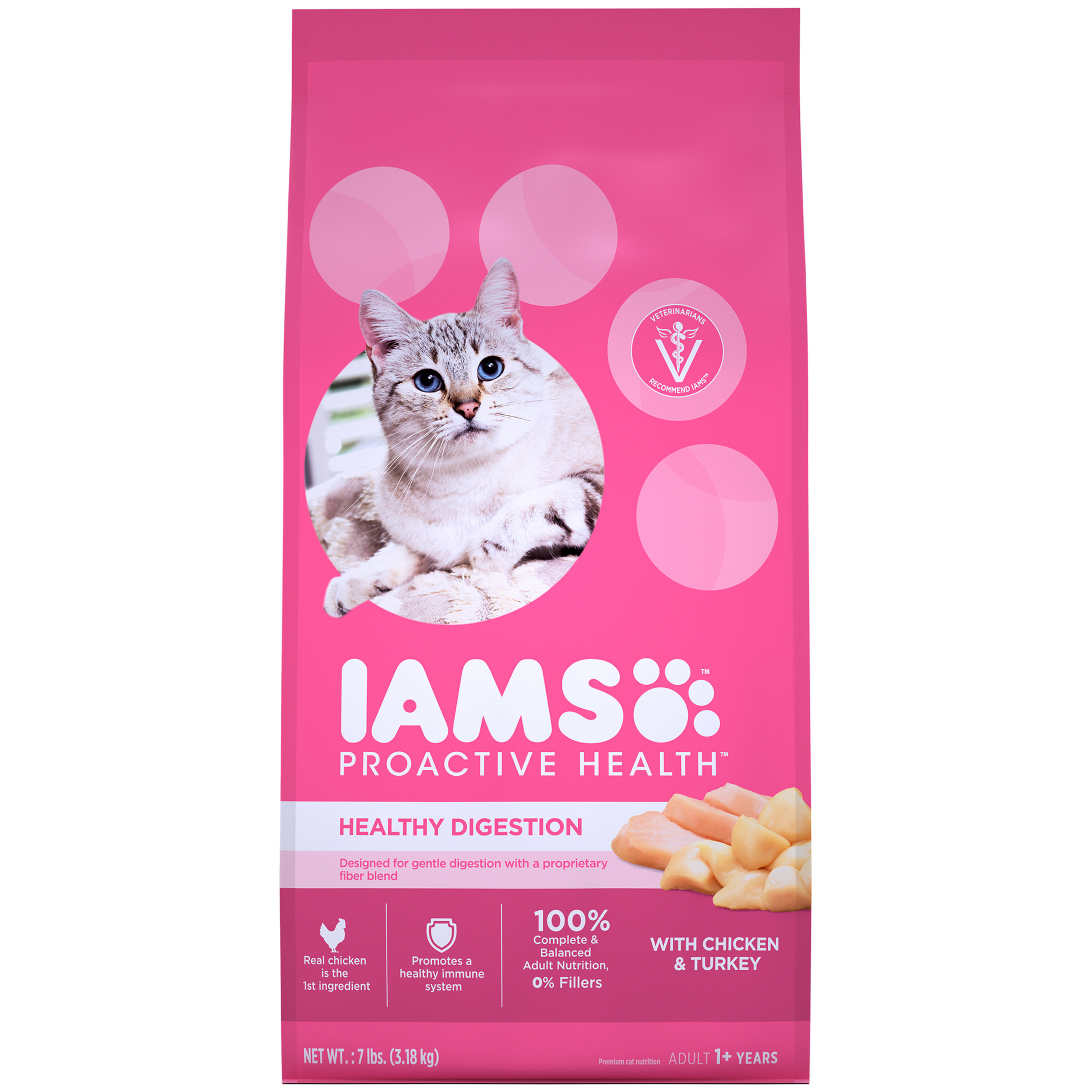 Iams Proactive Health Healthy Digestion Adult Dry Cat Food, With Chicken And Turkey, 7 Lb Bag by Mars Petcare