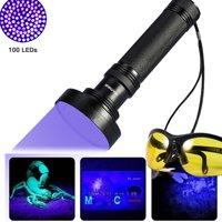 100 LED UV Black Light Flashlight Handheld Pet Dog Cat Water Stain Detector Torch Light
