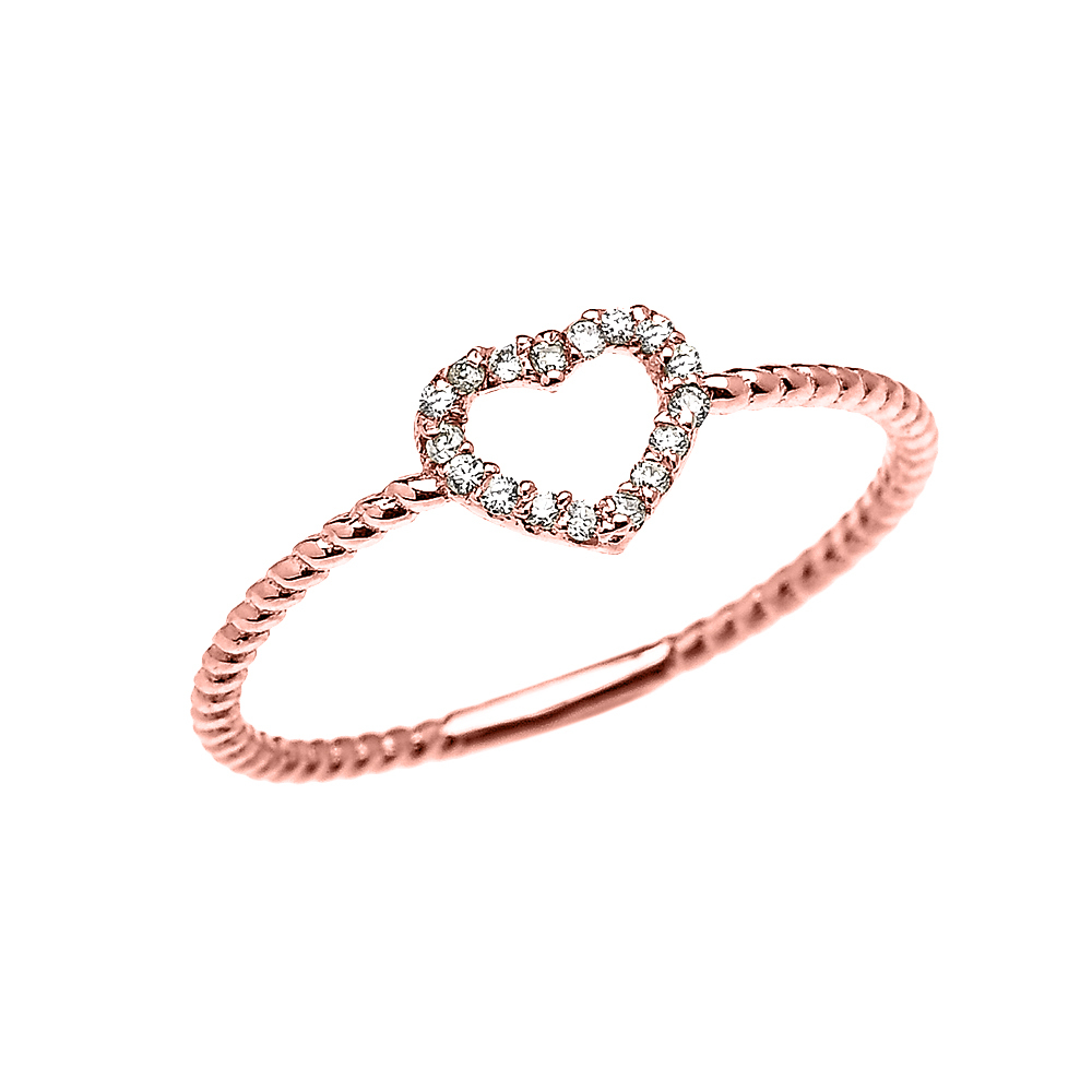 Rose Gold Dainty Open Heart Diamond Rope Design Promise Stackable