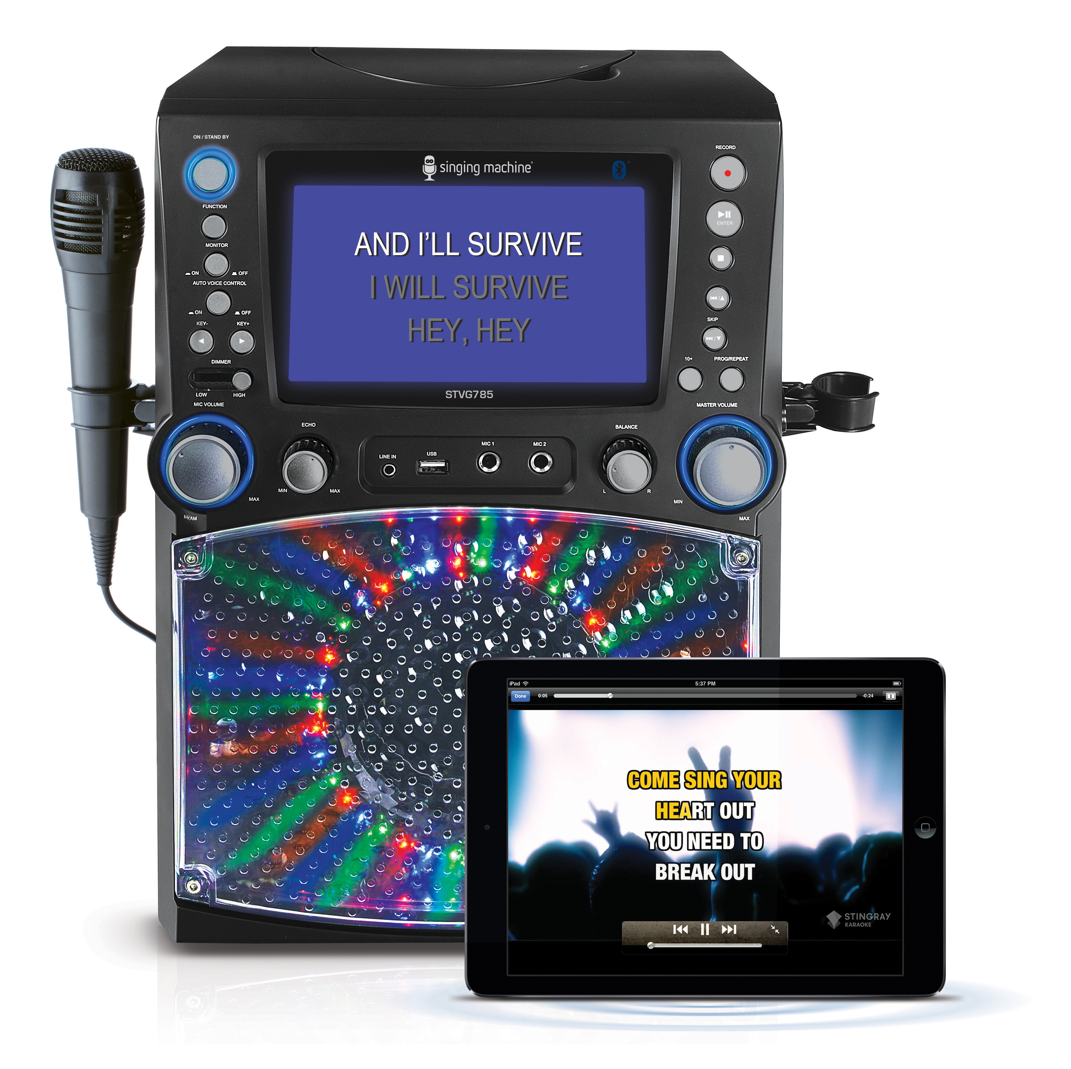 "Singing Machine STVG785BTBK Bluetooth Karaoke System with 7"" Color Monitor and Microphone"