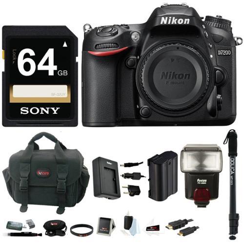 Nikon D7200 DSLR Camera (Body Only, Black) with Sony 64GB Accessory Bundle