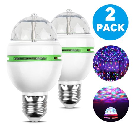 TSV E27 Crystal Ball Auto Rotating LED Stage Light Bulb Disco Party Bulb Lamp, 3W RGB Color, 2-Pack