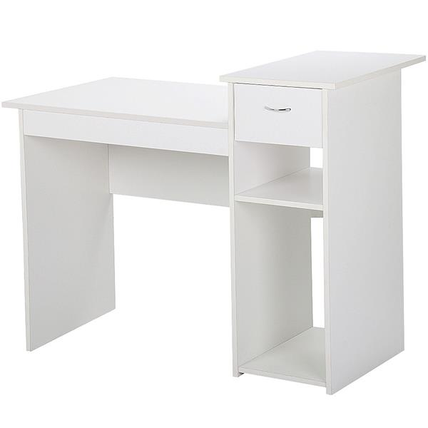 Gentil Product Image Home Office Small Wood Computer Desk With Drawers And Storage  Shelves Workstation Furniture (White And