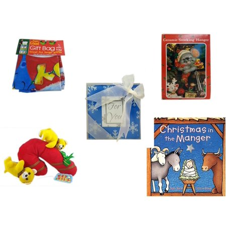 Christmas Fun Gift Bundle [5 Piece] - Super Giant Gift Bag With Tag - Vintage Designed Stocking Hanger Mouse - Acrylic Snowflake