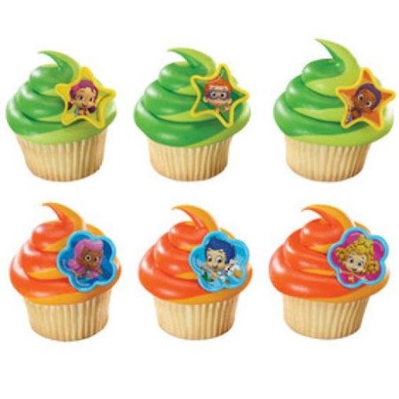 24 Bubble Guppies Molly Gil Gand Cupcake Cake Rings Birthday Party Favors Toppers](Bubble Guppies Halloween Party)