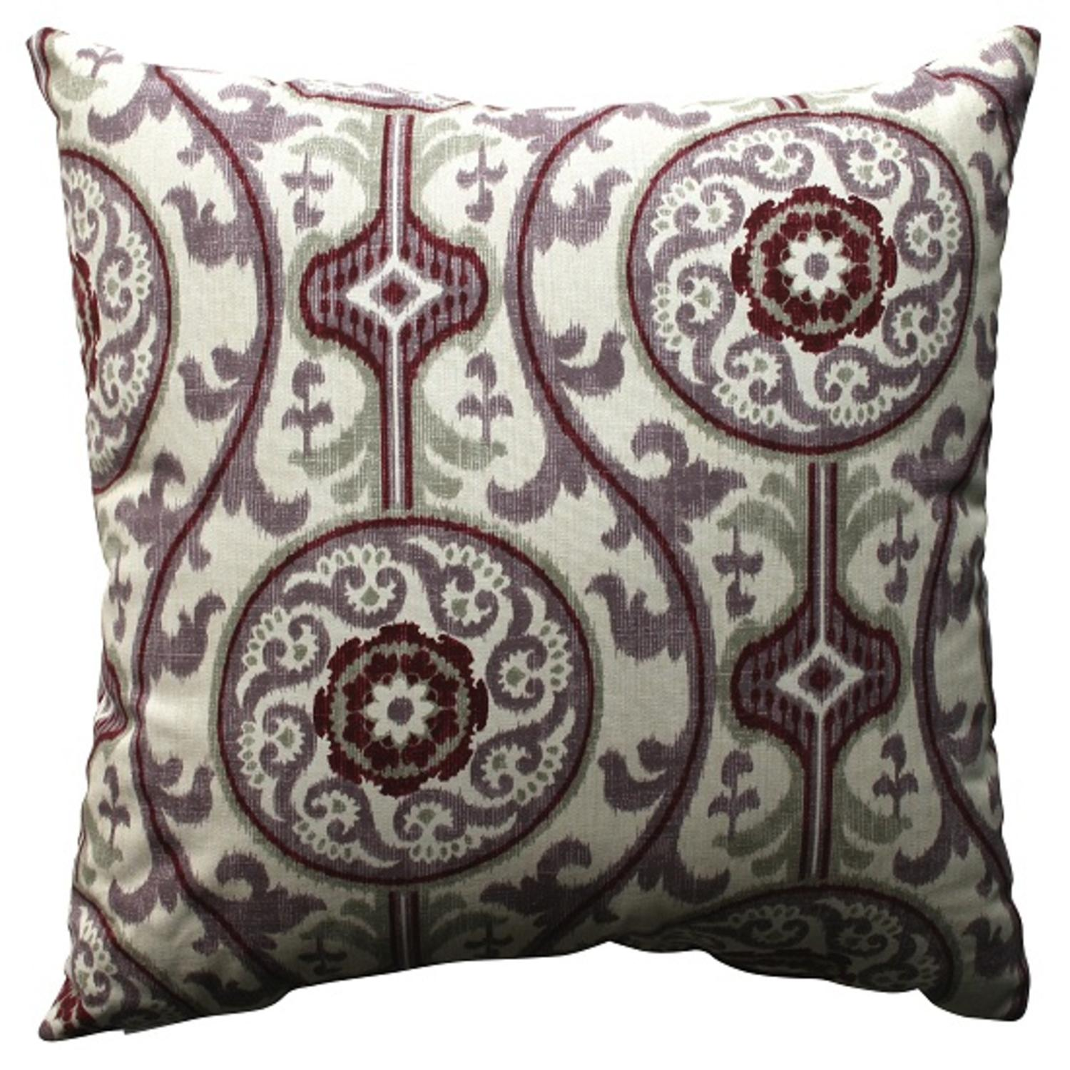 "18"" Purple and White Bohemian Damask Throw Pillow"