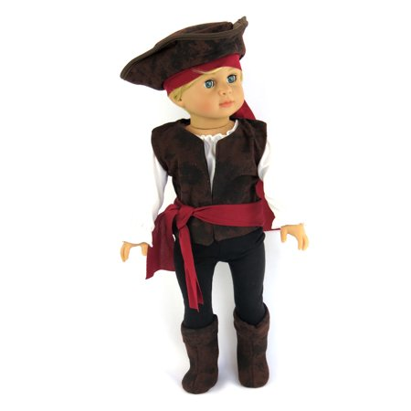 Halloween Doll Make Up (Boy- Pirate Buccaneer 7PC. Halloween Costume -Fits 18