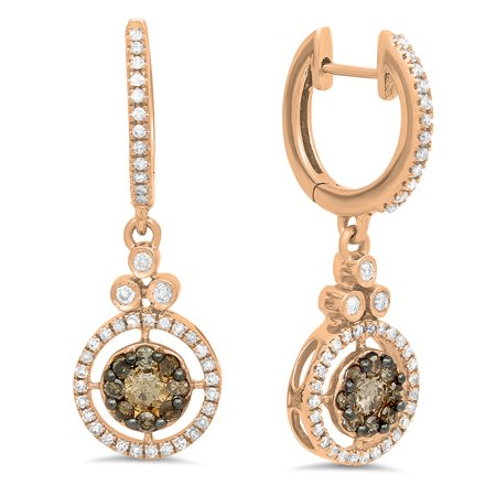 Dazzlingrock Collection 0.80 Carat (ctw) 14K Round Champagne & White Diamond Halo Dangling Drop Earrings 3/4 CT, Rose Gold 14k Wg Diamond Dangle