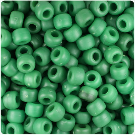 BeadTin Malachite Green Matte 9mm Barrel Pony Beads (500pc) (Malachite Chip Beads)