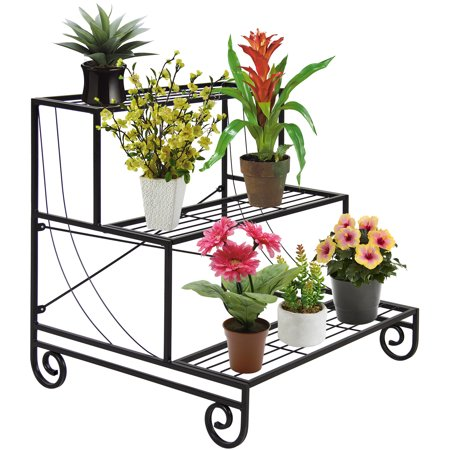 Best Choice Products 3-Tier Metal Raised Ladder Plant Stand Display, Indoor/Outdoor Decorative Planter Holder Flower Pot Shelf Rack - Black