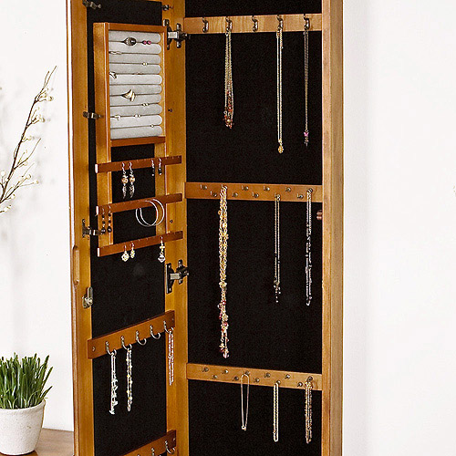 Wall Mirror Jewelry Box wallmount jewelry armoire with mirror, oak - walmart
