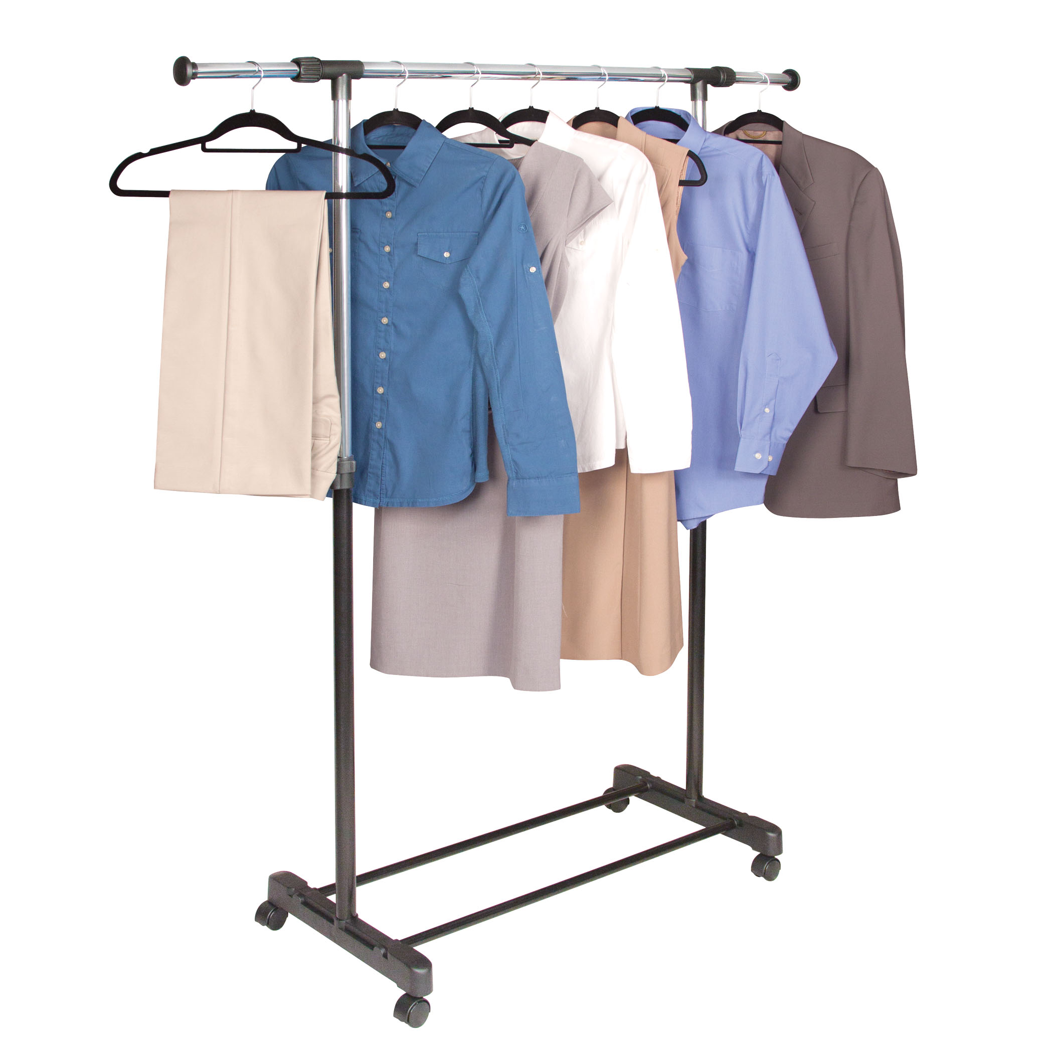 Garment Rack Chrome & Black Extendable by Richards Homewares