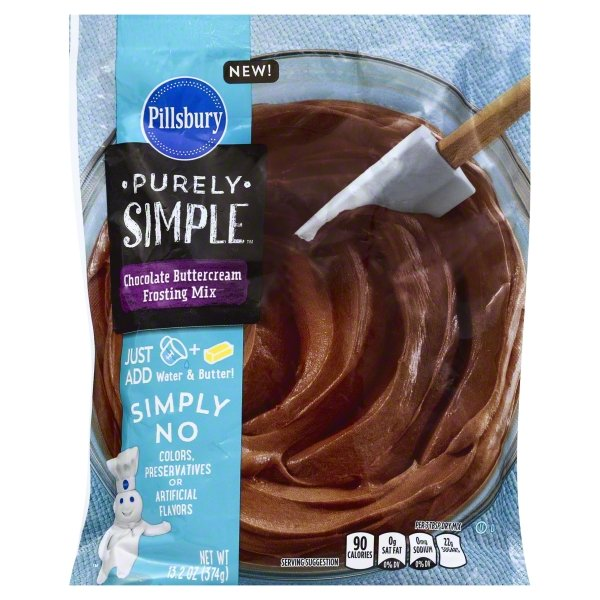Pillsbury Purely Simple Chocolate Buttercream Frosting Mix 13.2 oz (4 Pack)