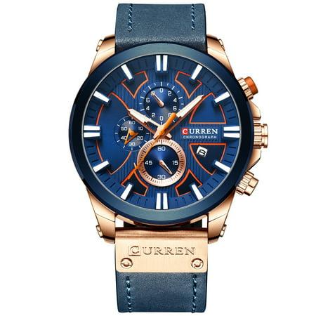 CURREN 8346 Luxury Business Quartz Movement Men Watch 3ATM Waterproof Big Dial Large Face Luminous Sports Wrist Watch Microsecond Second Minute Chronograph Sub-dials Calendar Clock Wristwatch for Male
