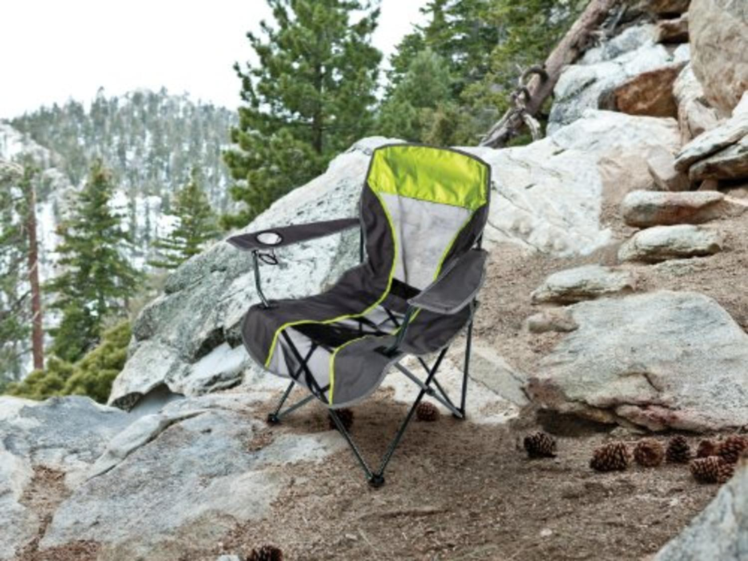"38.6"" Kelsyus Portable Fold-Up Backpack Quad Tailgate Camping Chair Lime Green by Swim Way"