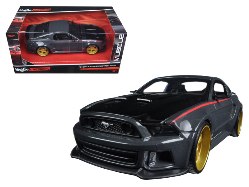 Ford Mustang Street Racer Grey and Black Modern Muscle 1 24 Diecast Model Car by Maisto by Diecast Dropshipper