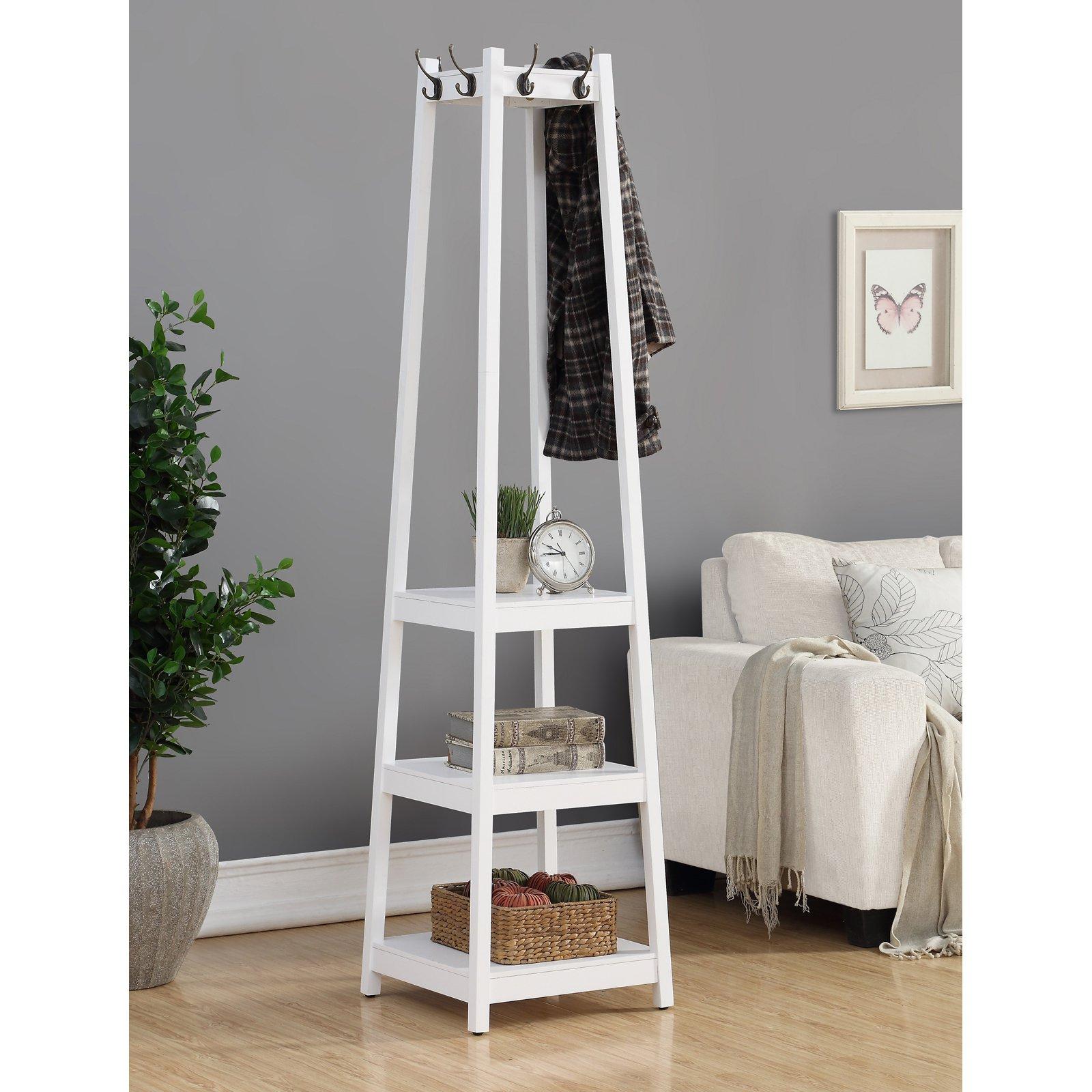 Roundhill Furniture Vassen 3-Tier Storage Shelve Coat Rack