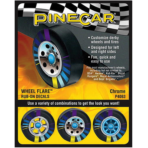Pine Car Derby Wheel Flare Rub-On Decals