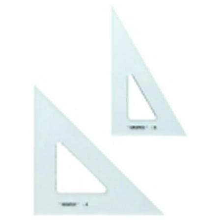 Alvin Economy Grade 0. 08 inch Polystyrene Triangle With Fingerlifts - 45 Deg-90 Deg, 8 inch - Transparent-Clear (Polystyrene Skull)