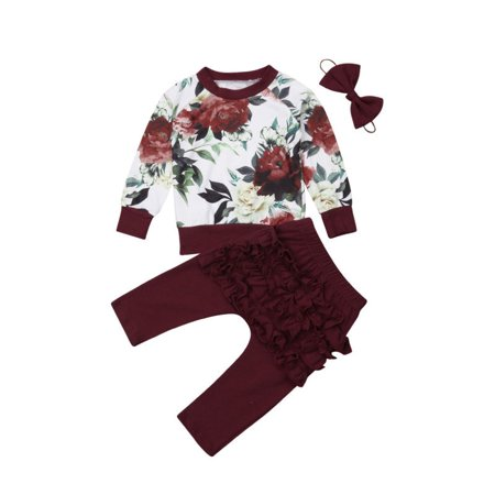 Newborn Baby Girls Winter Outfits Clothes Flower Tops+Ruffle Pants 3Pcs Set](Winter Soldier Outfit)