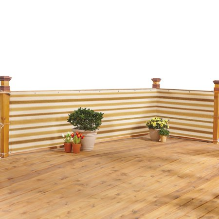 Deck & Fence Privacy Durable Waterproof Netting Screen with Grommets and Reinforced Seams, Brown Stripe