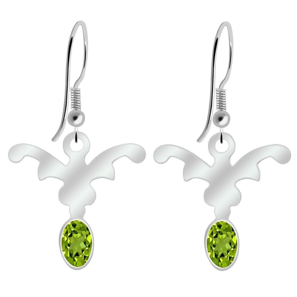 Orchid Jewelry 925 Sterling Silver 0.90 Carat Peridot Earrings