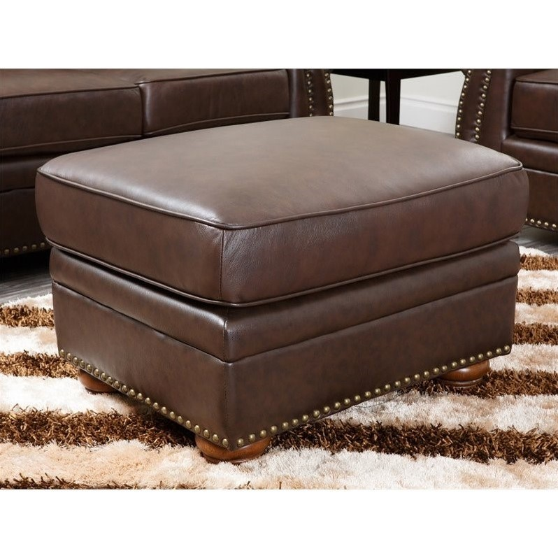 Etonnant Abbyson Living Pearla Leather Club Arm Chair With Ottoman In Brown