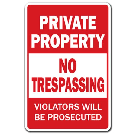Private Property No Trespassing [3 Pack] of Vinyl Decal Stickers   Indoor/Outdoor   Funny decoration for Laptop, Car, Garage , Bedroom, Offices   (Trespass Pack)