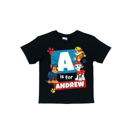 Personalized Marshall, Chase and Rubble Initial Toddler Boys' T-Shirt, Black