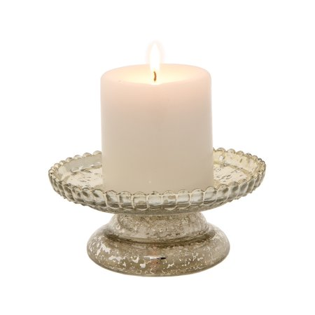 Mercury Glass Pillar Candle Holder (2.5-Inch, Silver, Anna (Anna B Design)