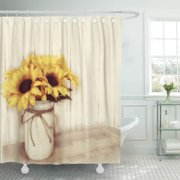 SUTTOM Cabin Rustic Country Sunflowers Mason Old Store Barn Wood Shower Curtain 66x72 inch
