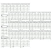 XLarge Yearly Wet & Dry Erase Blank Reusable Undated Wall Calendar Planner for Office Academic Home 12-Month Project Calendar
