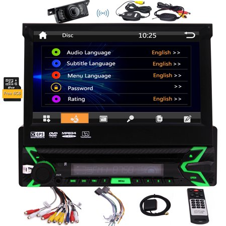 Single DIN In Dash Car Stereo Head Unit 7 inch Flip Out Capacitive Touch Screen Monitor Audio Video Receiver System GPS Navigation,Radio,Bluetooth,Microphone,USB Micro SD Reader + Wireless
