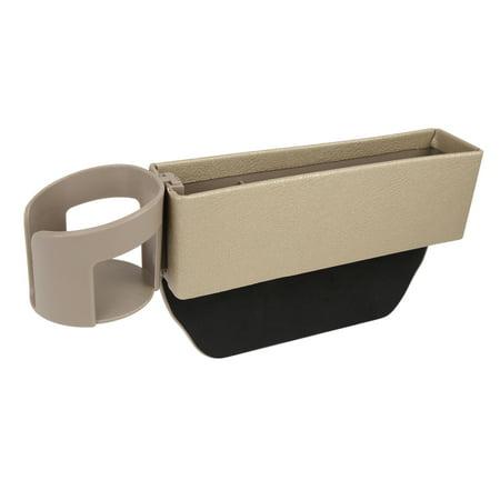 Beige PU Leather Auto Car Seat Crevice Storage Driver or Passenger Side Gap Box Organizer Pocket Corbeau Passenger Side Seat