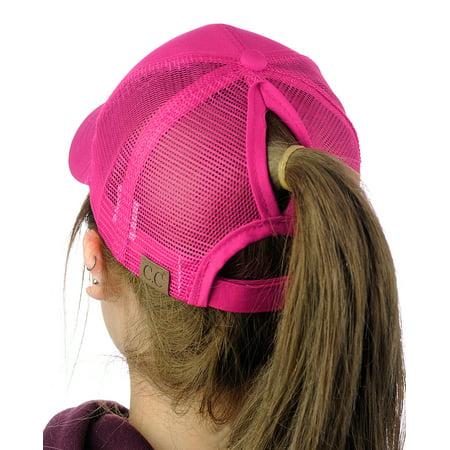 602749e826b C.C Ponycap Messy High Bun Ponytail Adjustable Mesh Trucker Baseball Cap Hat
