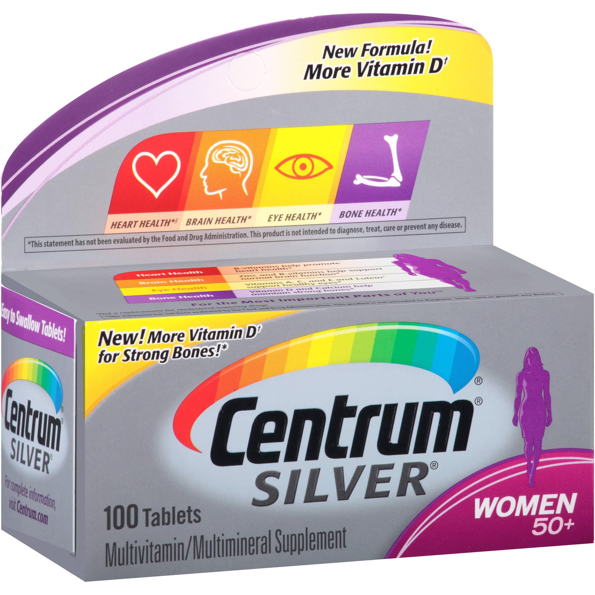 Centrum Silver Women 50+ Multivitamin / Multimineral Supplement Tablets, 100 count