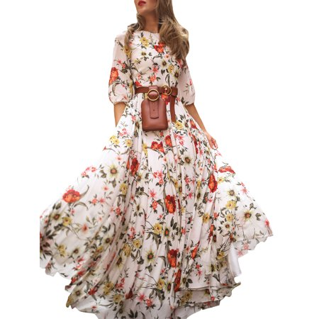 Holiday Party Dress (Women Long Sun Dress Wrap Boho Floral Slim Fit Long Maxi Dress For Women Summer Short Sleeve Family Party Holiday Club Beach Swing Pleated A-Line Sundress Beachwear Size 6-14)