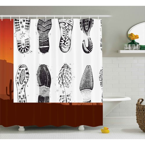 Ebern Designs Lauren Grunge Set of Various Shoe Tracks Human Foot Damaged Murky Artisan Walking Image Shower Curtain