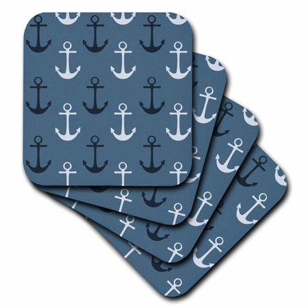 Anchor Coasters (3dRose Nautical Anchors in Blue and White beach theme, Soft Coasters, set of 4 )