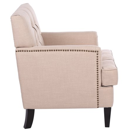 Modern Settee Bench Banquette Sofa Button Tufted Fabric Sofa Couch Ding Bench Chair 1-Seater ()