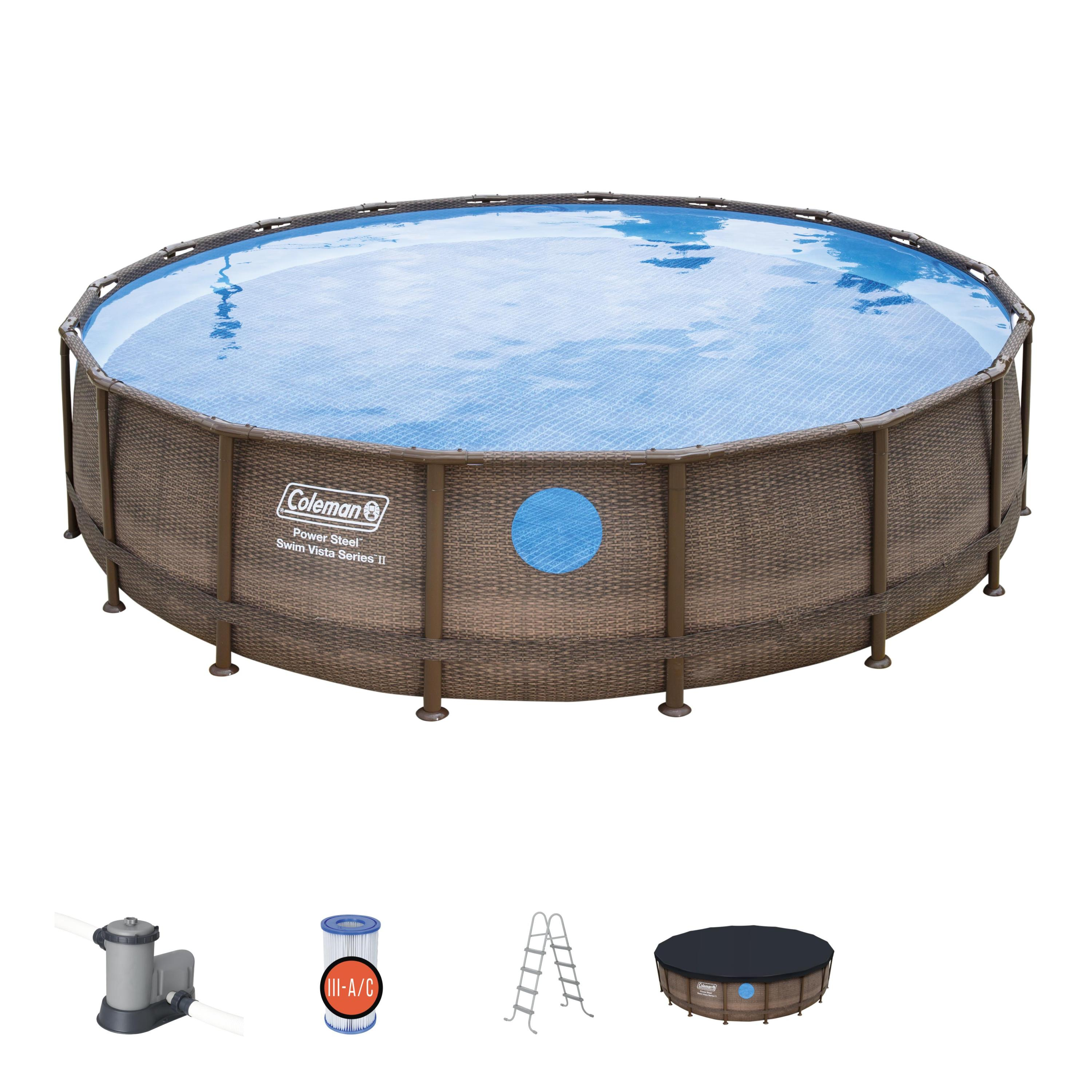 Coleman 18 X 48 Power Steel Swim Vista Series Ii Swimming Pool Set Walmart Com Walmart Com