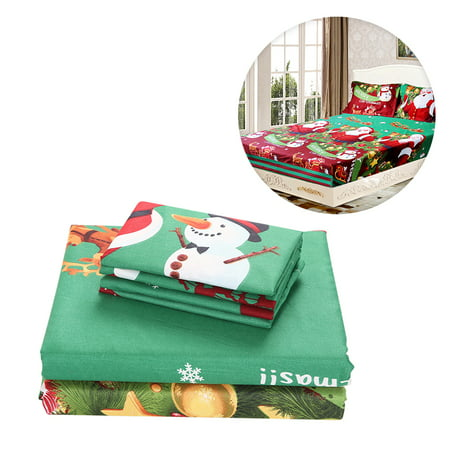 3pcs/set Christmas Santa Bedding Set Micro Fiber 3D Printed Fitted Bed Sheet + Pillowcase + Bed Sheet Set Christmas Bedroom Decorations--Twin Size