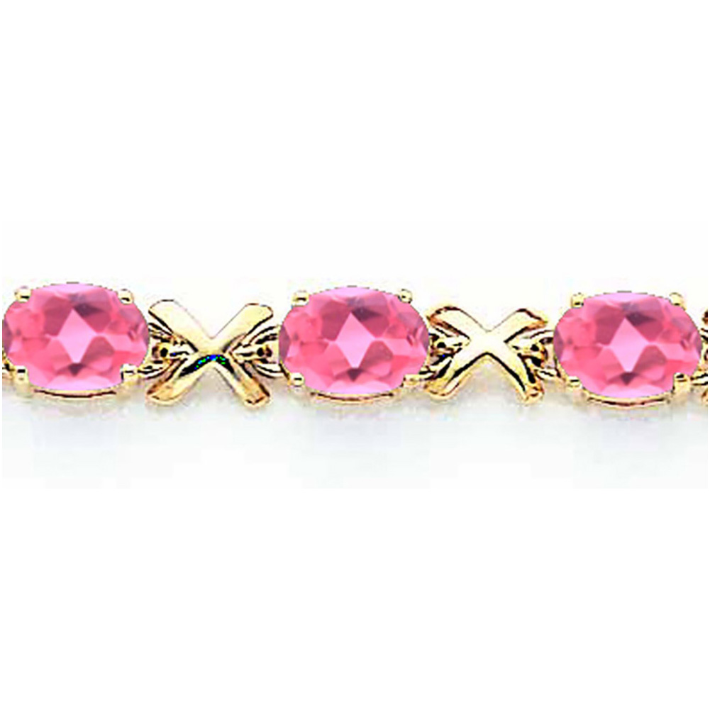 Lex & Lu 14k Yellow Gold 7x5mm Oval Pink Tourmaline Bracelet LAL119305 by