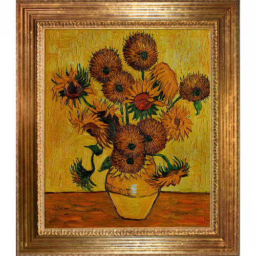 Wildon Home  Vase with Fifteen Sunflowers by Vincent Van Gogh Framed Original Painting
