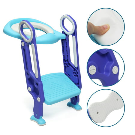 Non-Slip Kids Toilet Potty Soft Padded Seat  Step Up Training Stool Chair Toddler Ladder - image 3 de 8