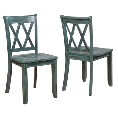 Roundhill Vilnius Contemporary Wood Cross Back Blue Dining Chair, Set of 2