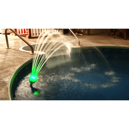 Pool Fountain. Magic Pool Fountain. Water Powered! Color Changing LED Lighting. No Power Cords, No Batteries, No Solar.