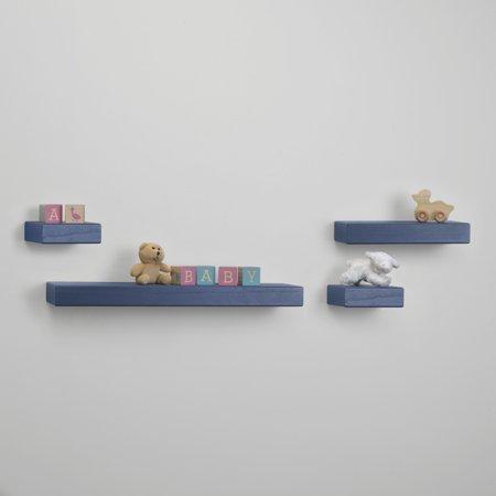 Melannco Set of 4 Distressed Navy Chunky Wood