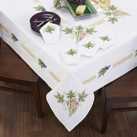 Craftways Tuscan Grapes Table Linens Stamped Cross-Stitch