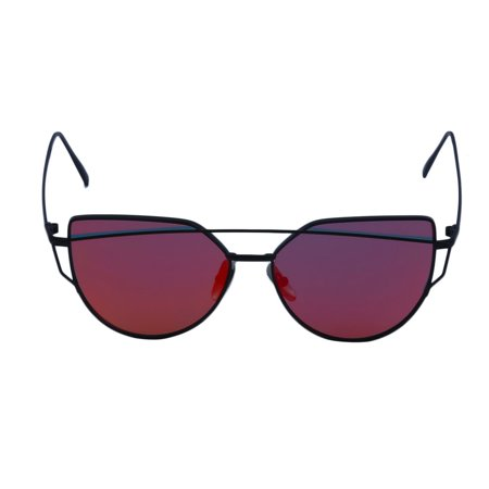 b0bf8f5dc5801 Reflective UV Protect Cat Eye Ladies Sunglass Star Style FOR Summer Holiday  black frame with red black frame with red - Walmart.com
